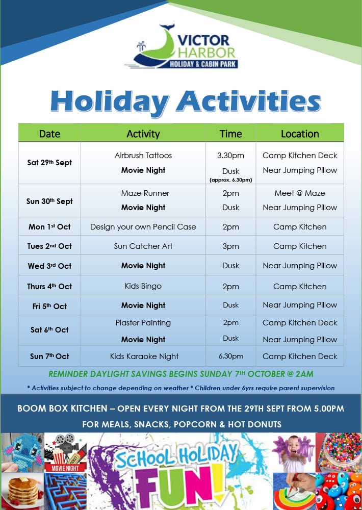 Victor Harbor October School Holidays Week 1
